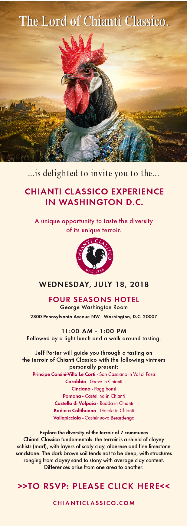 Invitation Chianti Classico Experience Washington DC 18JUL