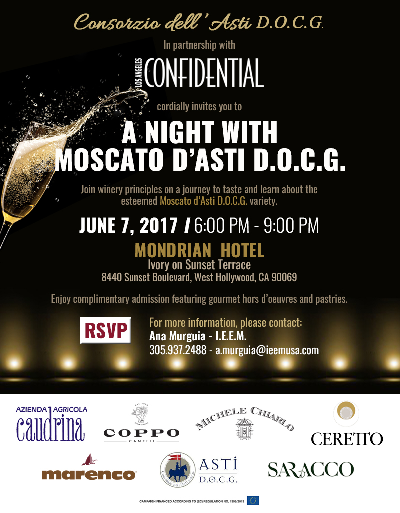 Moscato dAsti Invitation Los Angeles Evening